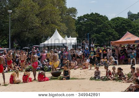 Sydney, Australia - January 26, 2020: Aboriginal People Performing Traditional Aboriginal Corroboree
