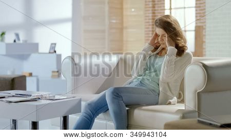 Sad Woman Suffering Headache, Worrying About Problems, Chronic Migraine, Pms