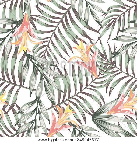 Green Exotic Tropical Palm Leaves With Orange Beautiful Flowers Seamless Vector Pattern On White Bac