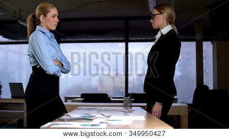 Opponents Looking At Each Other, Standing In Office, Business Rivalry Concept