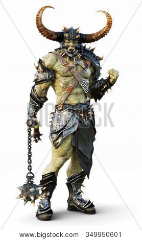 Savage Orc Leader Warrior Wearing Traditional Armor. Fantasy Themed Character Posing On An Isolated