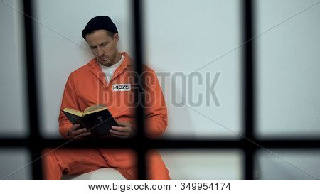 Caucasian Prisoner Reading Bible In Cell, Convicted Sinner Turning To Religion