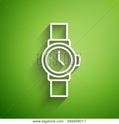 White Line Wrist Watch Icon Isolated On Green Background. Wristwatch Icon. Vector Illustration