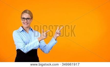 Pretty Woman Showing Template Pointing By Fingers, Business Suggestion, Offer