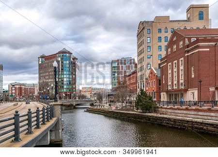 Providence, Rhode Island. Scenic View Of A Beautiful Modern Downtown City And Providence River.