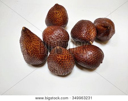 Tropical Fruit, Thorny Palm On White Background