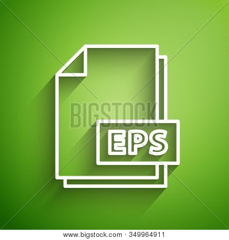 White Line Eps File Document. Download Eps Button Icon Isolated On Green Background. Eps File Symbol
