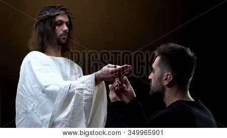 Messiah Giving Wooden Cross To Man, Religious Inspiration, Hope Symbol, Belief