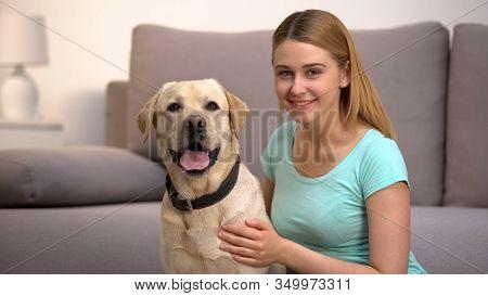 Cheerful Labrador Retriever Dog Female Owner Smiling To Camera Pet Companionship
