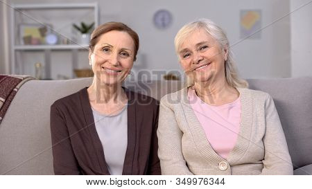 Happy Mature Women Smiling On Camera, Social Security, Safe Pension Happiness
