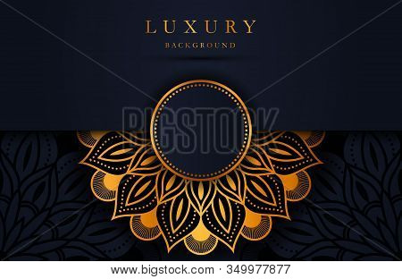 Luxury Gold Mandala Ornate Background For Wedding Invitation, Book Cover. Arabesque Islamic Backgrou
