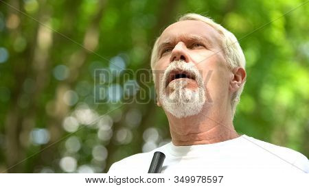 Pensioner With Low Vision Trying To See, Age-related Eye Problems, Glaucoma