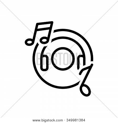 Black Line Icon For Music Entertainment Djconcert Listen Production Musically Concert Listening Head