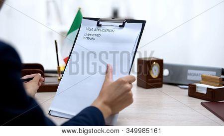 Immigration Inspector Denying Visa Application, Italian Flag Table, Regulations