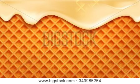 Wafer Cake With Flowing Down Vanilla Cream Vector. Wafer Biscuit For Cookie. Crispy Baked Tasty Dess