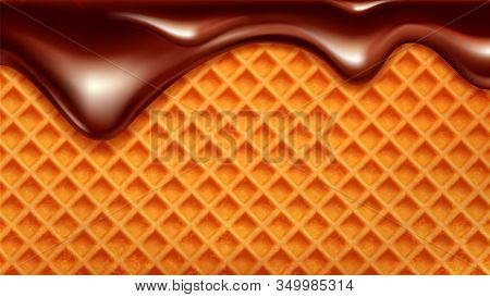 Wafer Cake With Flowing Down Chocolate Vector. Wafer Biscuit For Ice Cream Or Cracker. Crispy Baked