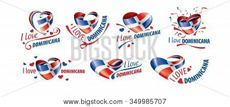 National Flag Of The Dominicana In The Shape Of A Heart And The Inscription I Love Dominicana. Vecto