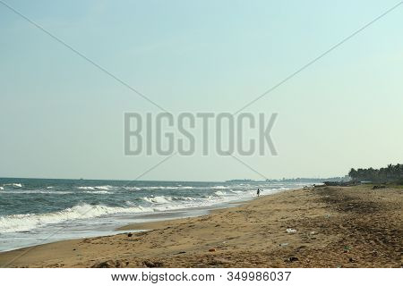 Brilliant Empty Beach Against Blue Sky On Sunday, Landscape Beach,sea Waves On Beach. Sea Beach, Mar