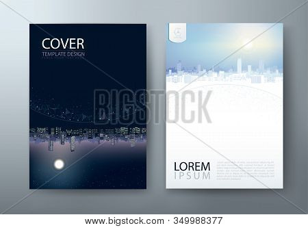 Flyer Design, Leaflet Cover Presentation, Book Cover Template, Layout In A4 Size. City Night And Day