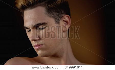 Bigender Man Turning Face And Crying, Feeling Ugly In Male Body, Insecurity