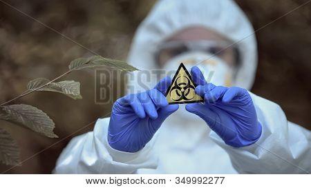 Biological Hazard Sign In Researcher Hands, Health Threat, Virus Danger, Toxin