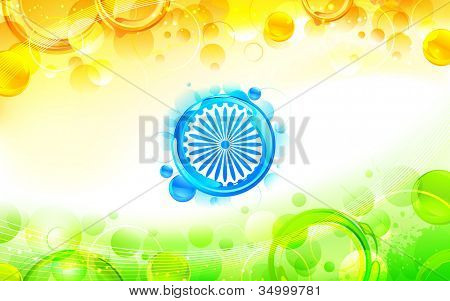 illustration of abstract circular shape in indian flag tricolor poster