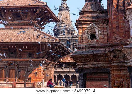 Kathmandu, Nepal - February 6 2020: Ancient Temples At Patan Durbar Square, Nepal. A Unesco World He