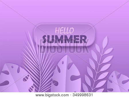 Lilac summer background. Hello Summer, summer time, summer day, summer day background, summer banners, summer flyer, summer design, summer with people in the pool, vector illustration. Eps10 vector illustration.  Tropical plants on a lilac background. Min
