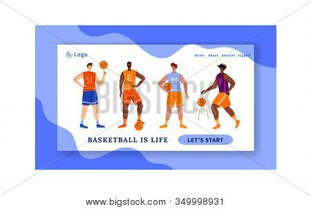Landing Page - Basketball Players With Ball And Copy Space, Text Place, Muscular Athletic Men In Spo