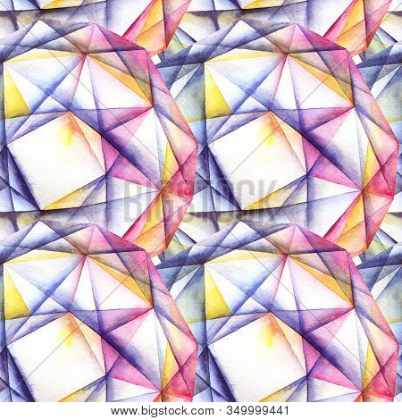 Watercolor Hand Painted Faceted Round Diamond Crystals. Abstract Seamless Pattern.