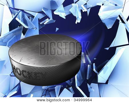 puck and crushed ice