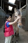 Portrait of a little girl with her favorite horse poster