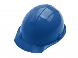 Plastic Blue Safety Helmet Over White Background. Trendy Color Concept Year, Classic Blue Background