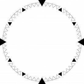 Clock Dial Black Triangle Signs Pointing Negative Space On Transparent Background