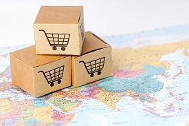 Box With Shopping Cart Logo On Asia Map : Import Export Shopping Online Or Ecommerce Finance Deliver