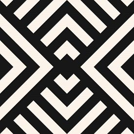 Simple Linear Geometric Seamless Pattern. Abstract Monochrome Geo Texture With Diagonal Lines, Squar