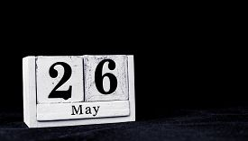 May 26th, Twenty-sixth Of May, Day 26 Of Month May - Vintage Wooden White Calendar Blocks On Black B