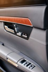 Handle And Electric Seat Buttons Of Luxury Modern Car