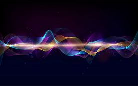 Abstract Wave Curve Lines. Music Abstract Background. Equalizer For Music. Dynamic Colorful Particle