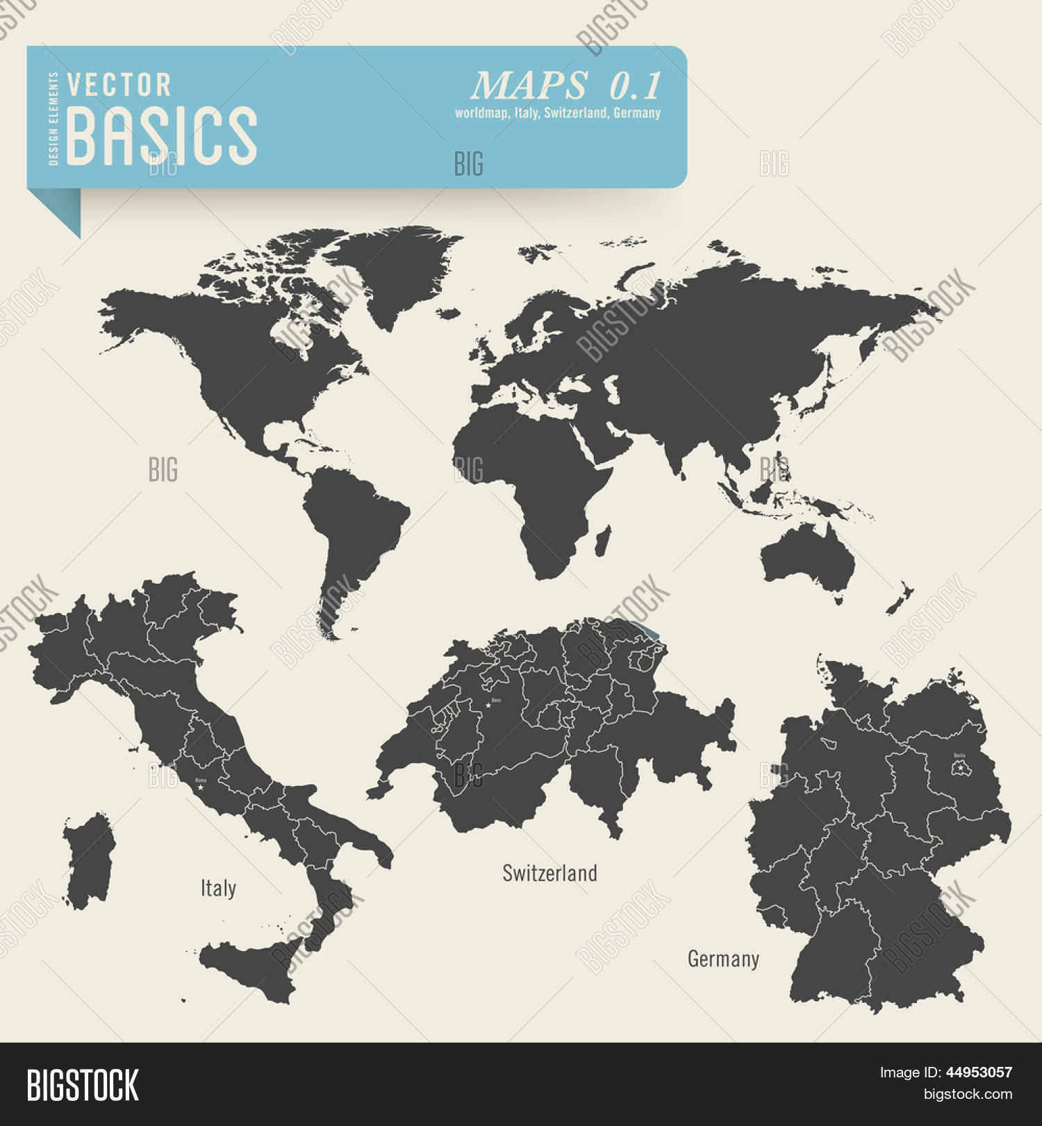 Map Of Germany And Italy With Cities.Vector Basics Maps 1 Vector Photo Free Trial Bigstock