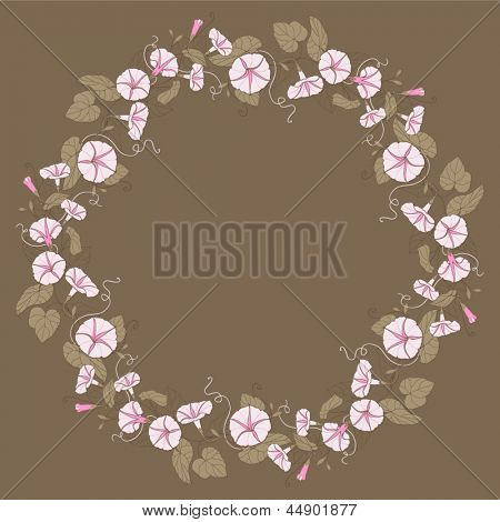 card with floral pattern. wreath of  convolvulus