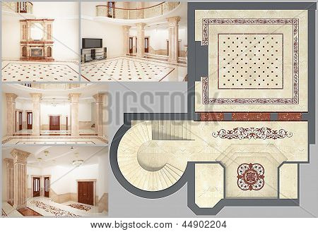 3D rendering Beautiful Living Room with Mosaic Floor