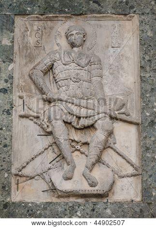 Bas-relief Of Warrior Saint