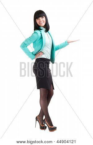 business woman with holding gesture