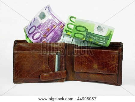 full wallet with euro bills