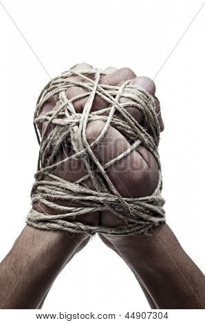 man hands tied with string, as a symbol of oppression or repression, on a white background poster