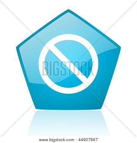 access denied blue pentagon web glossy icon