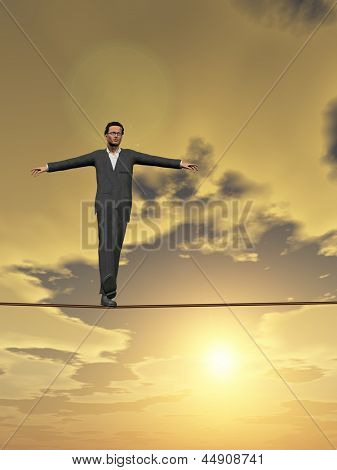 Conceptual concept of businessman or man in crisis walking in balance on rope over sunset sky vertical background