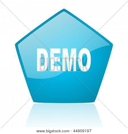 demo blue pentagon web glossy icon