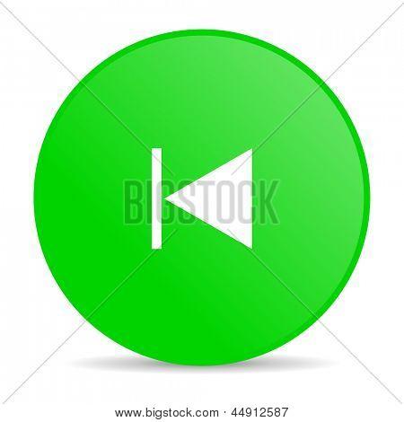 prev green circle web glossy icon